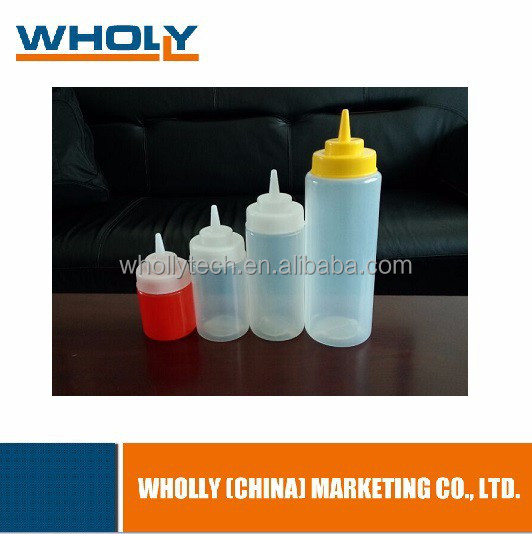 Food Grade Plastic Chili Sauce Squeeze Bottle with Cap for BBQ