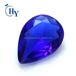 Cheap loose gemstone custom various sizes blue color pear cut glass gemstone for jewelry