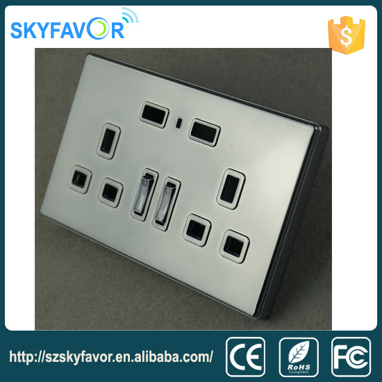 Noble and luxury 3 pin <strong>plug</strong> 2 gang 2way wall socket with usb charger