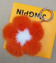 New Fashion Real Mink Fur Ball Keychain Flower for Bag pendant