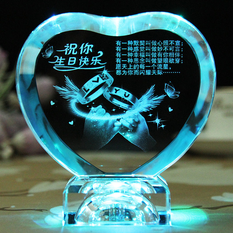 2016 New Design 3d Laser Engraved Heart Shape Crystal with LED Light Valentine's day