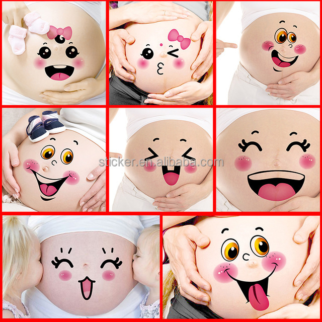 12 Pcs/Lot Maternity Photography Props 3D Stickers Cute Pregnancy Photographs Belly Painting Photo Stickers