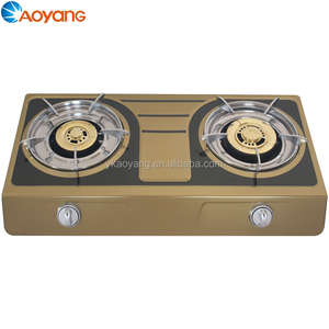 Good Quality Gold Stainless Steel Double Burner Free Standing Gas Cooker Malaysia Wholesale