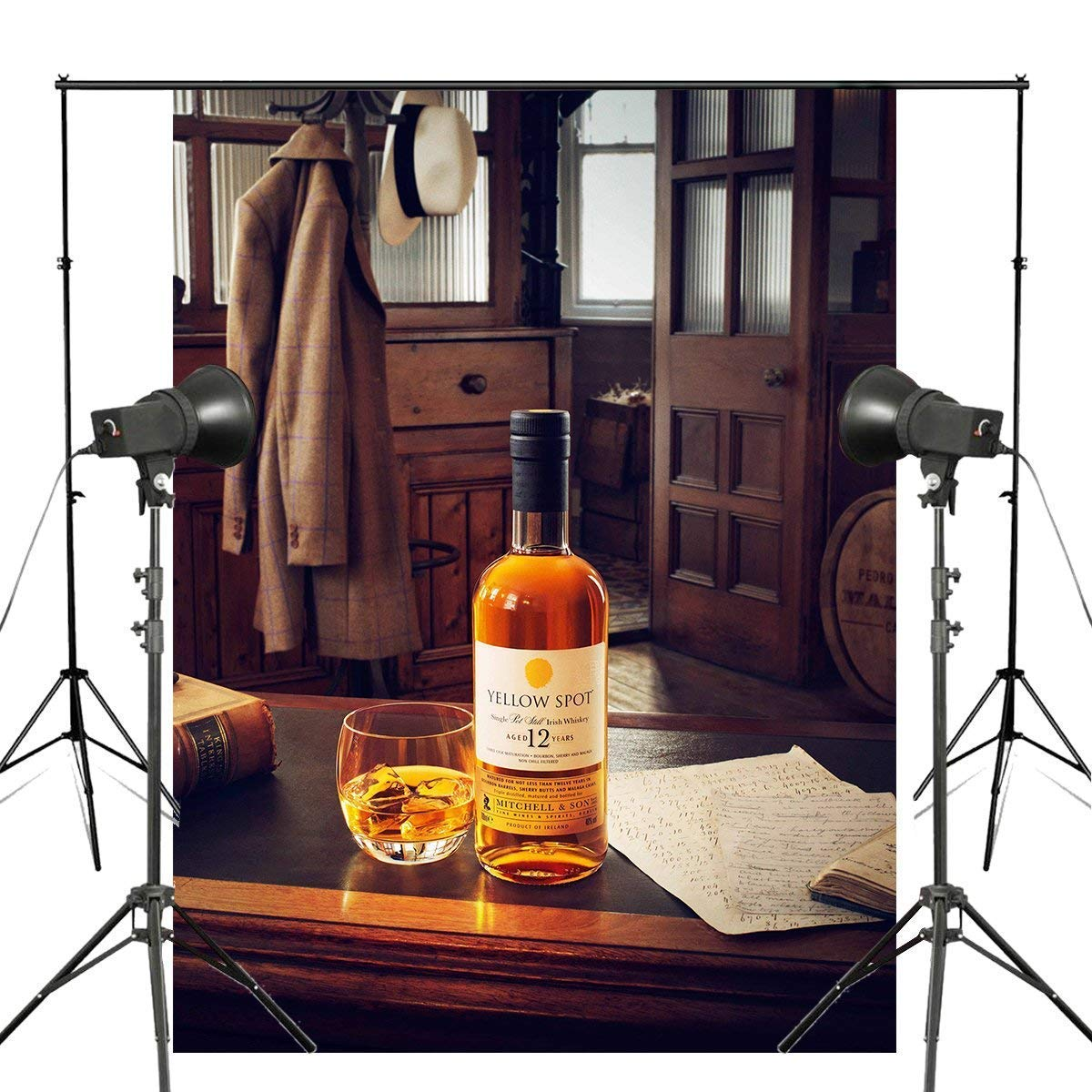 ERTIANANG Alcohol Spirits Drinks Yellow SPOT Backdrop Whiskey Photography Background Studio Props Wall 150x210cm