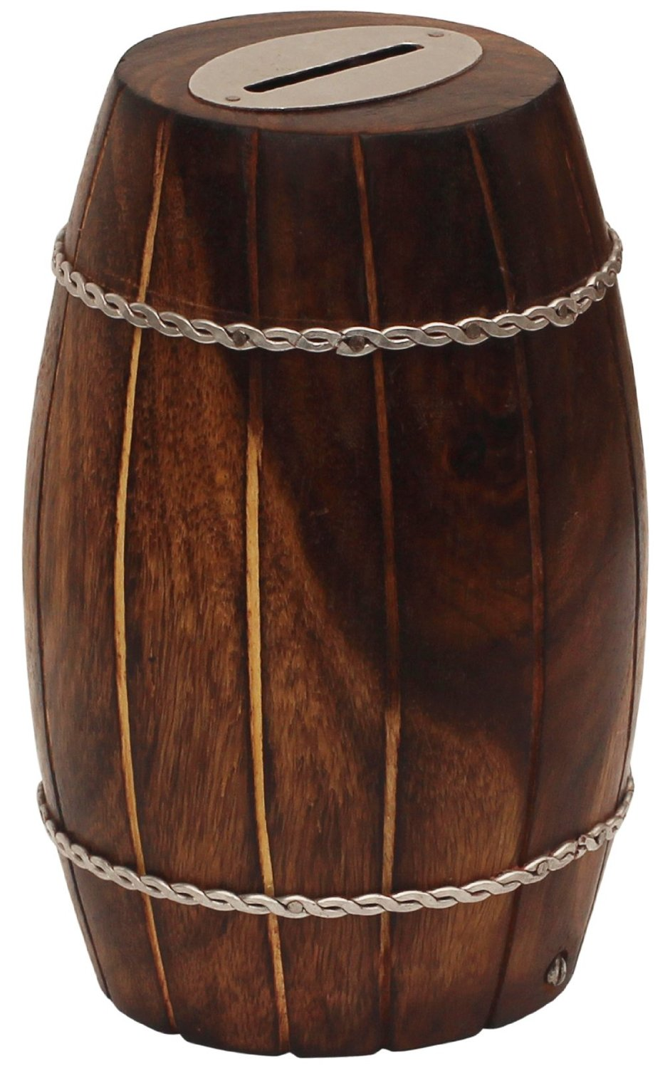 BULK Deals - SouvNear Wooden Coin Bank - 3.6 x 3.6 Inch - Barrel Shaped Money Bank in Mango-Wood - Decorated with Iron Chains - Rustic Look Piggy Bank / Coin Bank for Kids and Adults