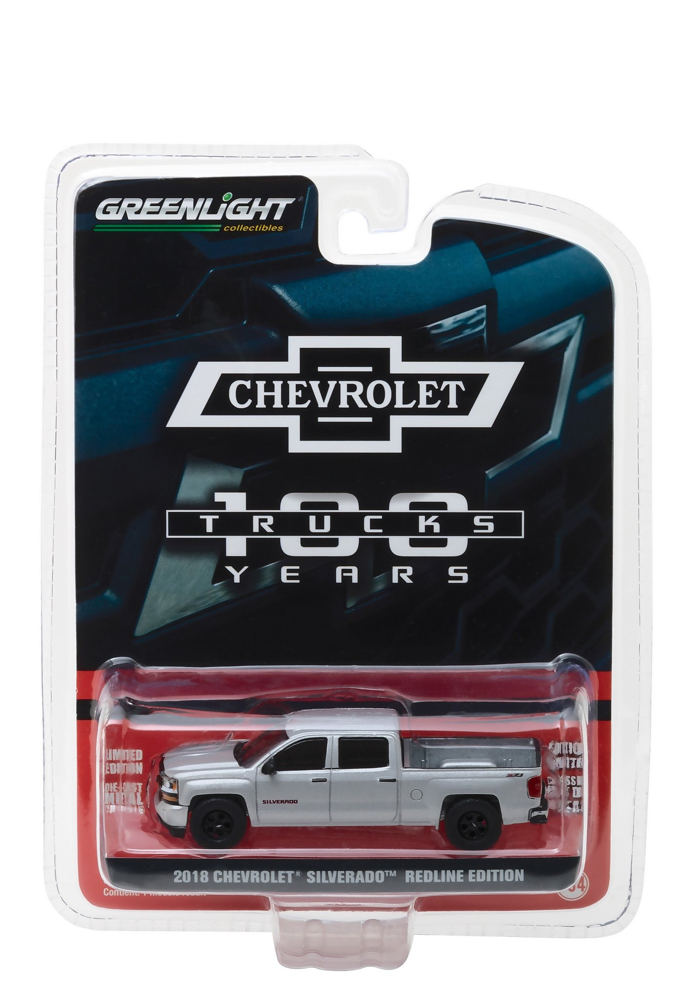 StarSun Depot 2018 Chevrolet Silverado Redline Edition Silver 100th Anniversary of Chevy Trucks Anniversary Collection Series 6 1/64 Model Car by Greenlight