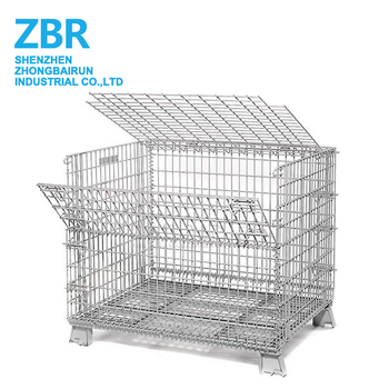 Stacking Square Metal Bin Wire Mesh Storage Container