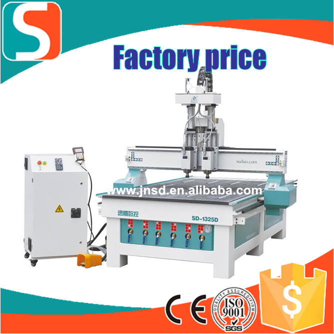 1325 Dual-processes Pneumatic ATC CNC Center /Double head CNC Router for woodwoking/ best quality