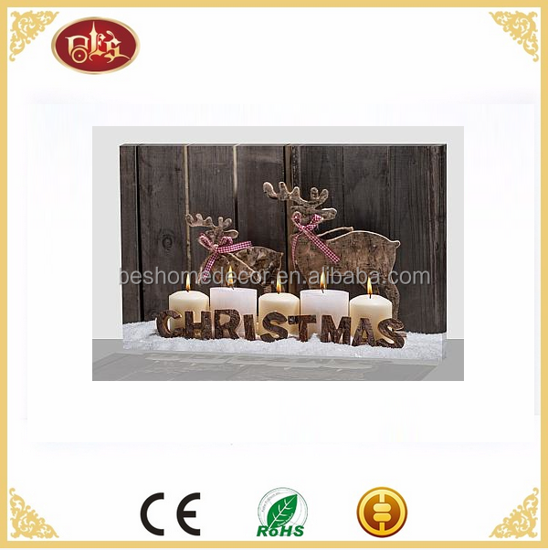 Battery operated led canvas wall art christmas candles led canvas pictures