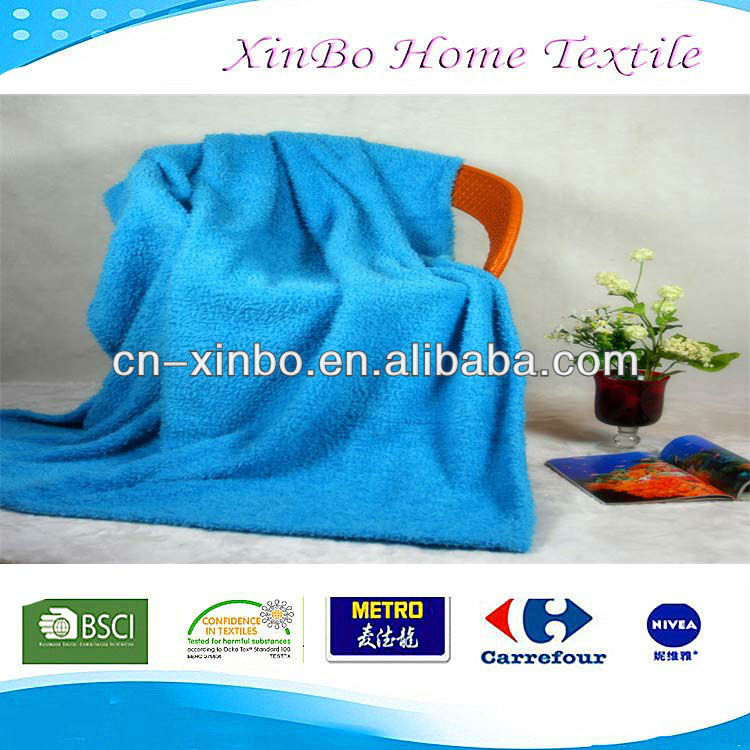 Polyster plain blue micro fleece soft qulited sherpa fur blanket throw