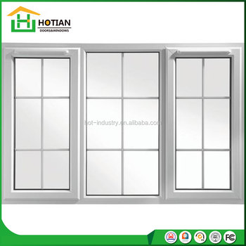 Iron Window Grill Design White Color Upvc Frame American Style Pvc Sliding Profile French Windows Modern