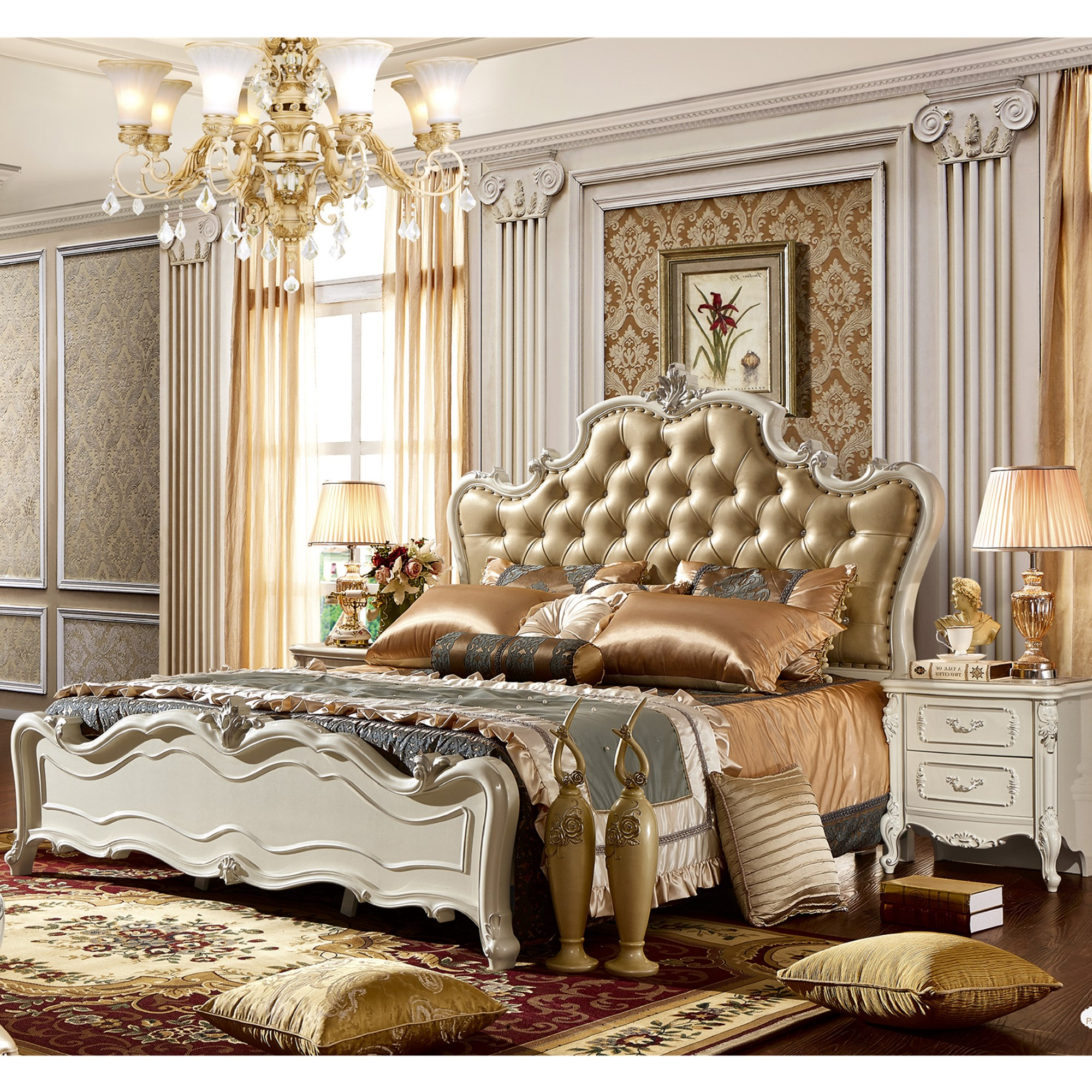 High Quality European Style Carved Flower Wine Red Bedroom