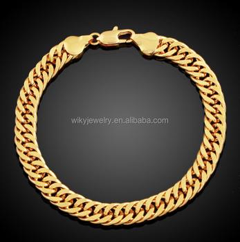 e712141dad81 ATHENAA grueso de cobre plano pulsera de oro para hombre cubano pulsera de  cadena de enlace