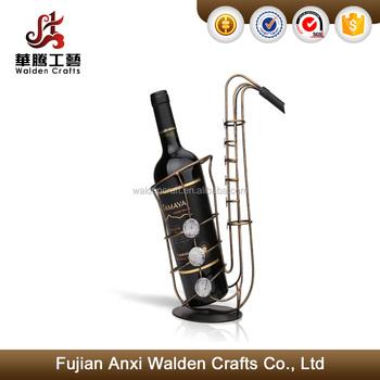 Saxophone Metal Wire Basket Wine Bottle Holder Stand