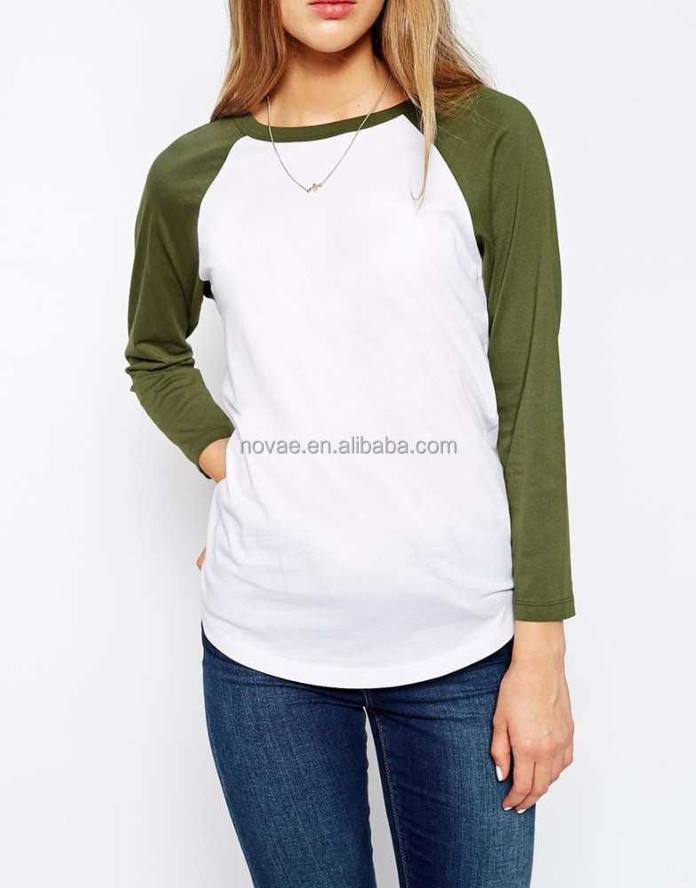 raglan t shirt femme haute qualit plaine t shirt manches longues baseball t shirt tee shirt. Black Bedroom Furniture Sets. Home Design Ideas
