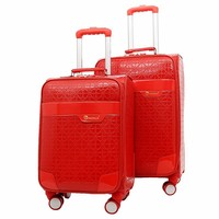 PU rolling travel luggage Continental expandable 4 wheel carry on luggage