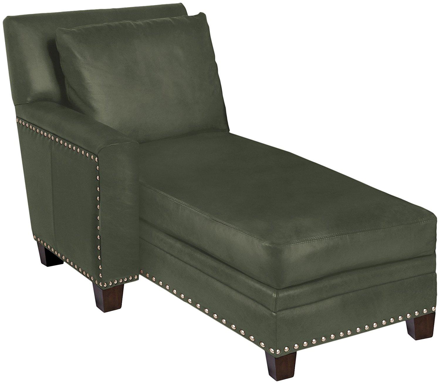 Omnia Leather Glendora Left Arm Chaise in Leather, with Nail Head, Navajo Hunter