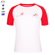 Raglan Sleeve 100% Polyester Rounded-Neck T-Shirt Screen Printing