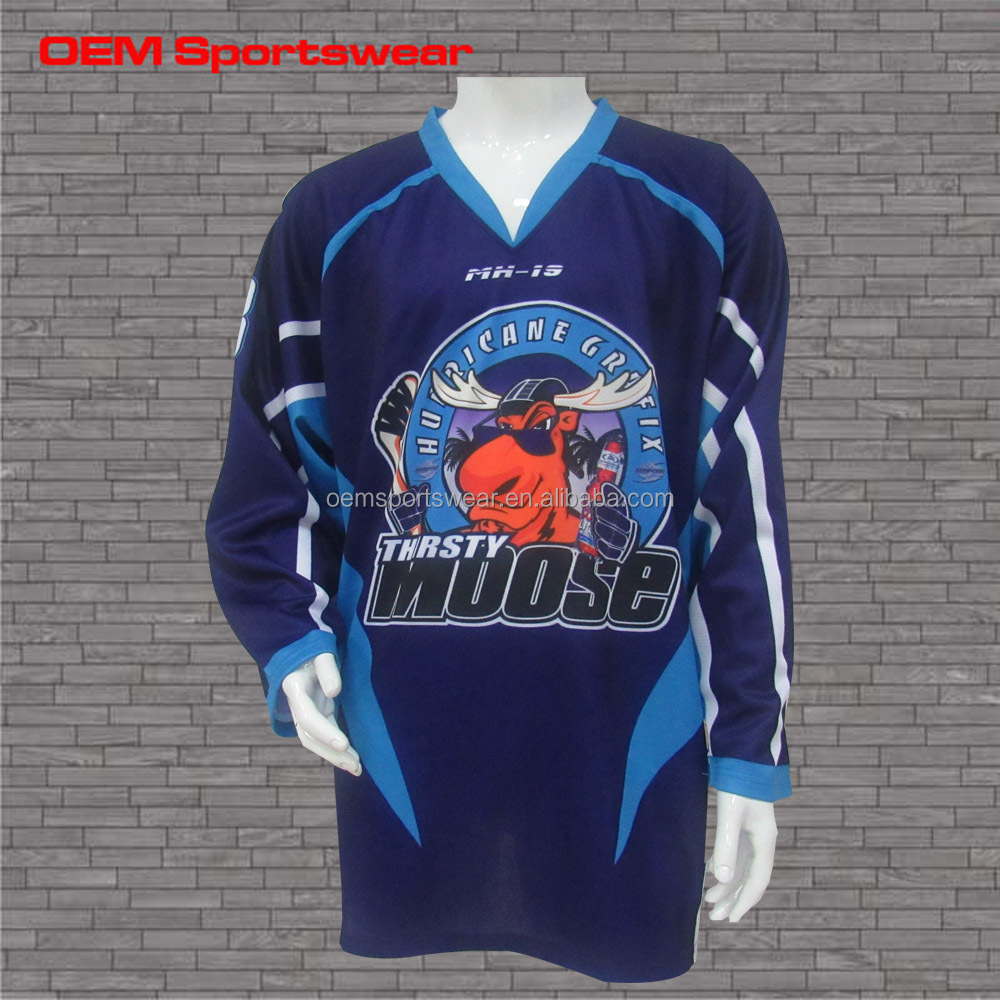 Navy Sublimation Printing Ice Hockey Shirts With Custom Logo Buy
