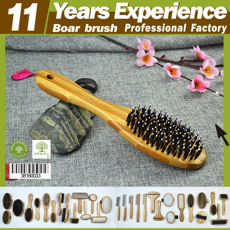 BOOM HOME Factory direct sales new design private label Eco-Friendly natural bristle wooden hair brush