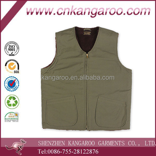 Olive Green military Style Fleece lining Thermal Vest