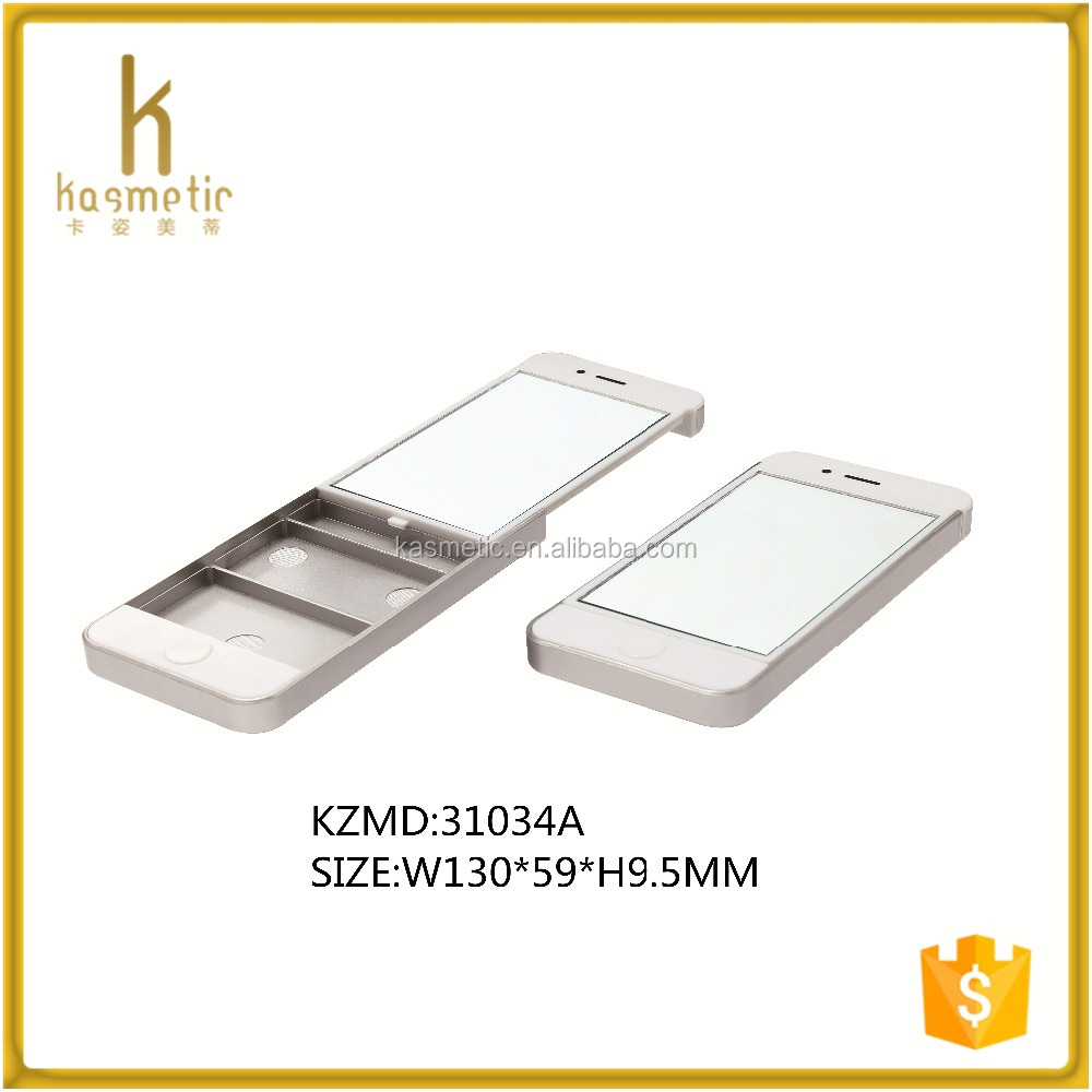 Phone shape empty square white compact powder case with mirror