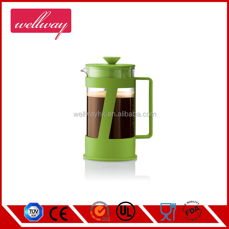 Double Wall Insulated Glass Tea Coffee Maker French Press Green