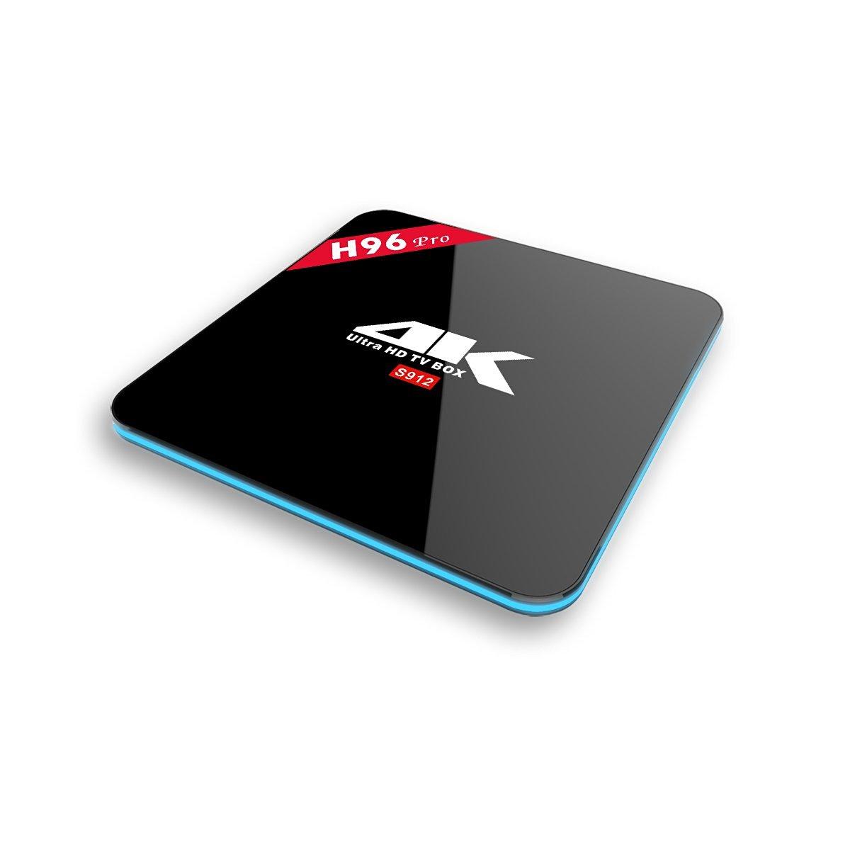 [2GB/16GB/4K] EstgoSZ H96 Pro 4K Android 6.0 TV BOX,S912 Octa core 4K Fully Loaded APP TV Box Streaming Player Bluetooth Enabled (2GB+16GB)