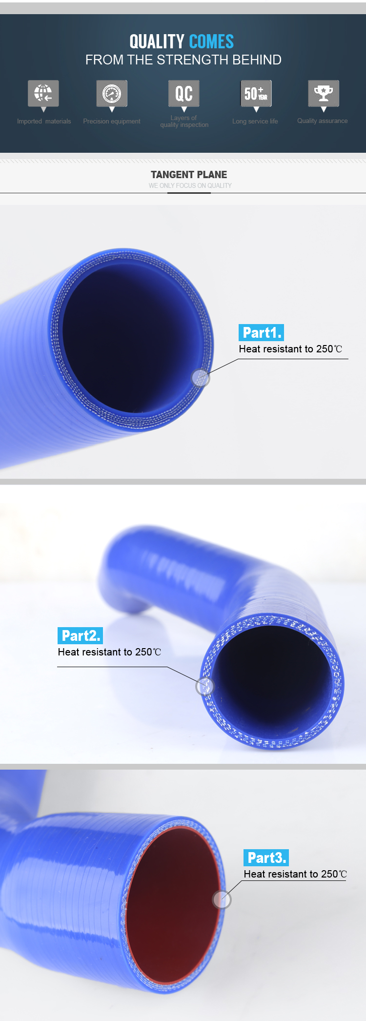 high performance anti-aging all sizes truck automotive car silicone rubber hose for auto