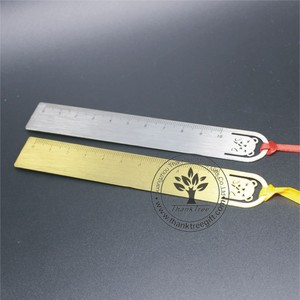 unique promotional gift wholesale custom metal engraved brass ruler bookmark