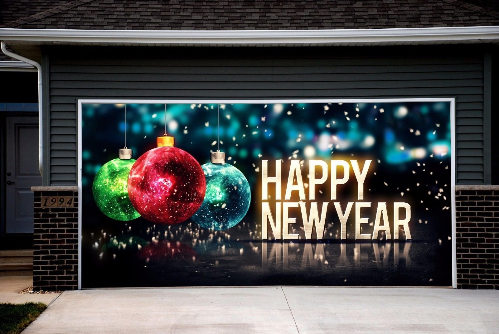 walltattoohome christmas garage door billboard for 2 car garage door merry christmas decorations full color print