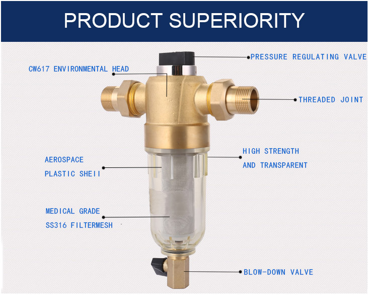 Whole House Filter Pressure Regulating Backwash Water Purifier System Pre Water Filter Brass