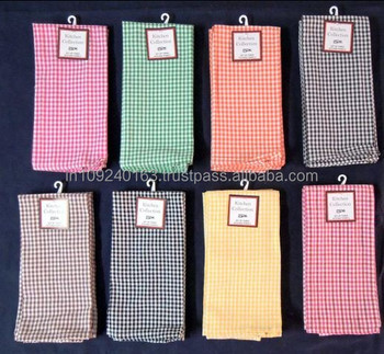100% cotton gingham kitchen towel wholesale made in india