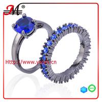 R7927BBU Jingmei fashion black gold blue sapphire rhinestone blue sapphire zircon ring
