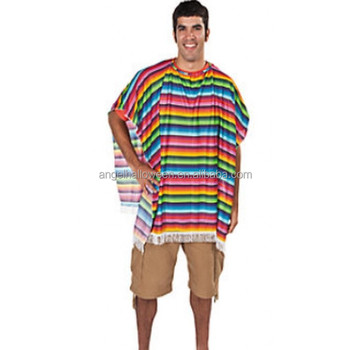 MEXICAN Fancy Dress Poncho Colourful with stripe Unisex BP2342