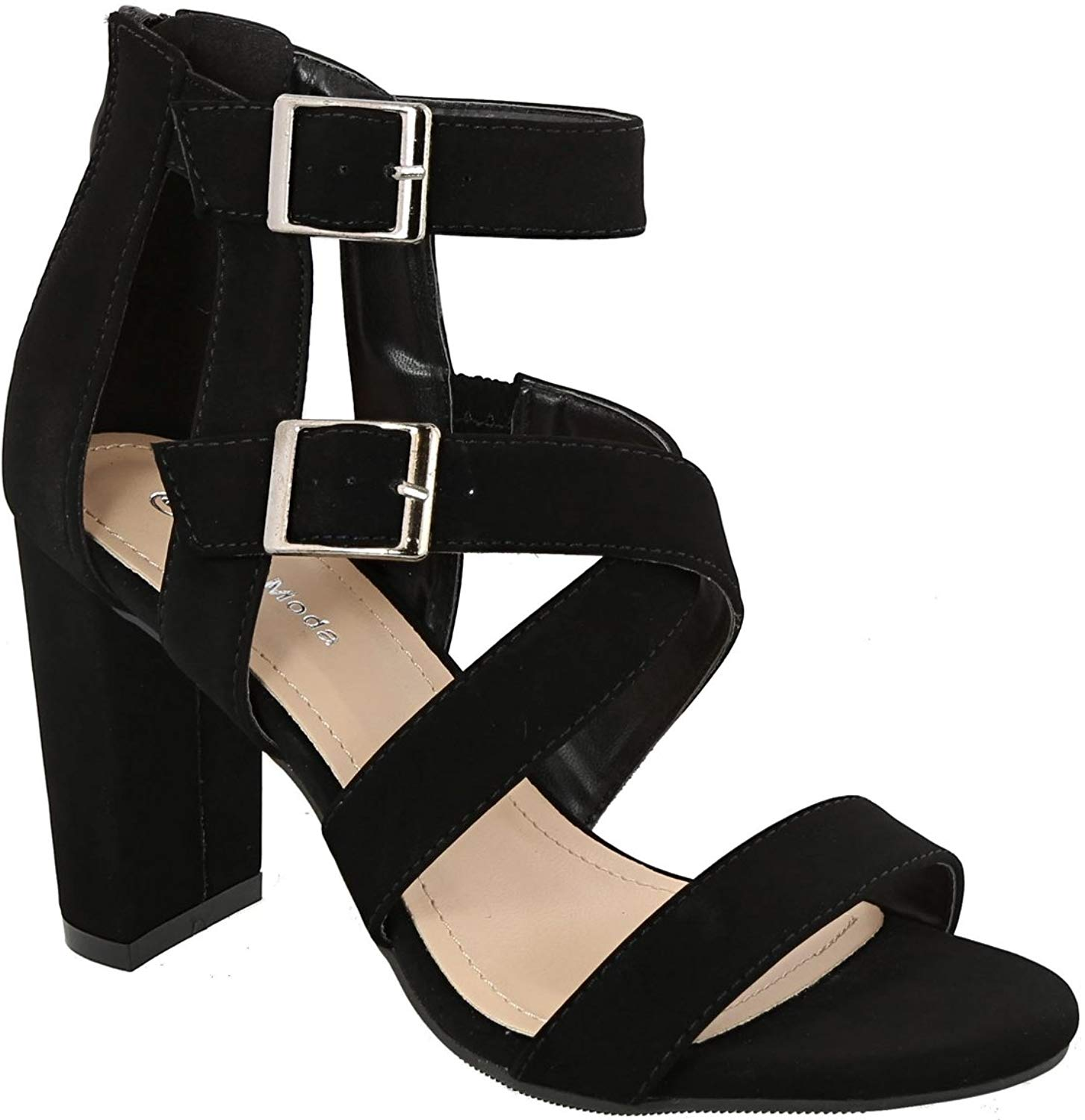 ca6a134344c Get Quotations · Top Moda Konner-98 Women s Crisscross Straps Chunky Open  Toe Double Ankle Strap Platform Heel