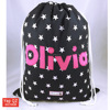 High quality black color Wholesale Cotton Canvas Drawstring Bag with embroidery logo