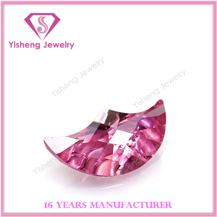 Moon shape special cut pink cubic zirconia stone gems with earing