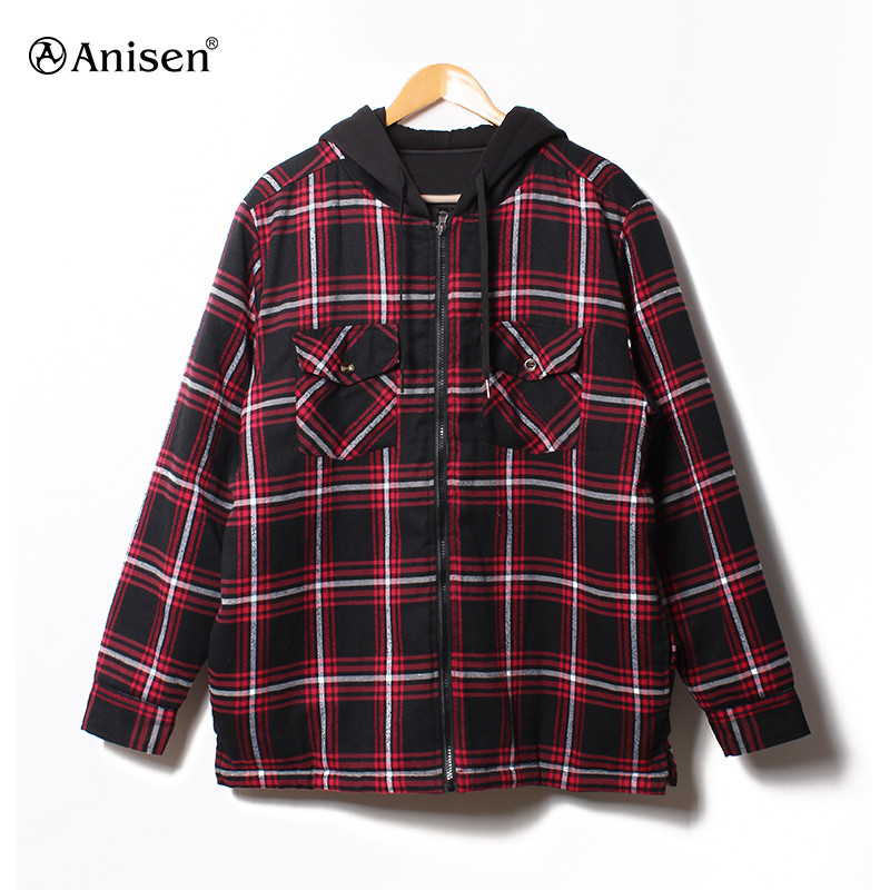Custom cotton casual red warm zipper lining quilted padded winter plaid hoodies
