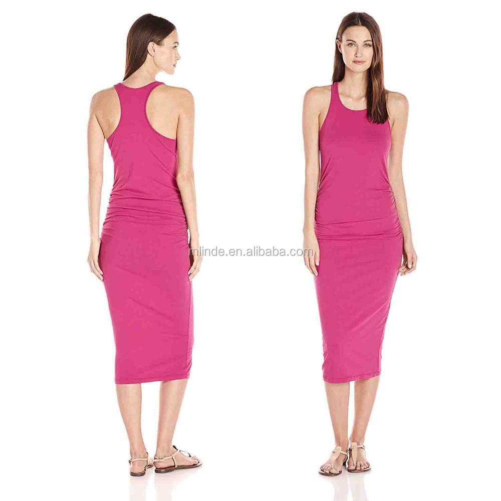 Vestido Sin Mangas Para Mujeres De Moda 95% Algodón 6% Lycra Spandex ...