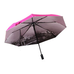Paris tower automatic Led Flashlight Handle Folding Umbrella