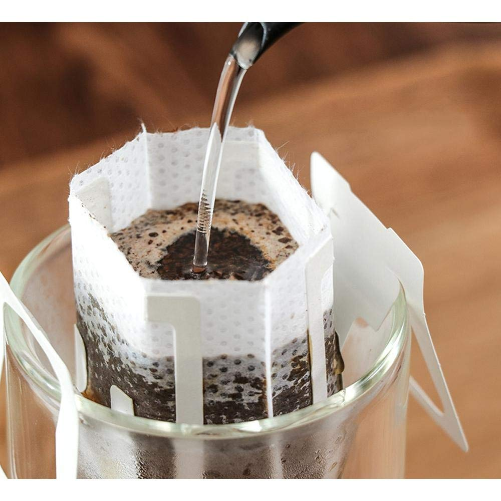 KOBWA Natural Coffee Filters, Single Serve Disposable Coffee Tea Drip Filter Bags with Hanging Ear, 50 Count Coffee Paper Filter for Most Cups, Travel/Home/Office/Camping