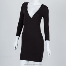 vintage dress,winter black v neck knit long sleeve dress for woman