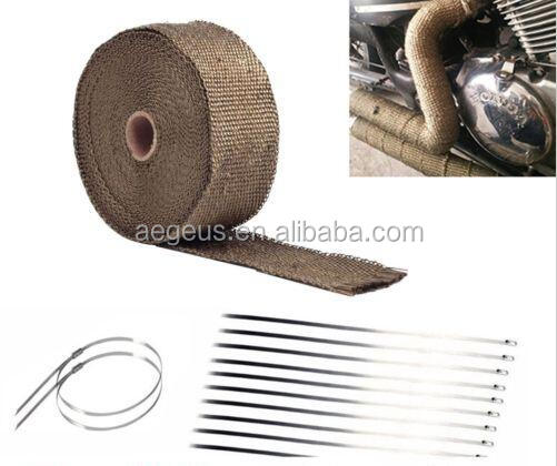 "2/"" 50FT Titanium Fiberglass Exhaust Header Manifold Pipe Heat Wrap Tape+Ties Kit"