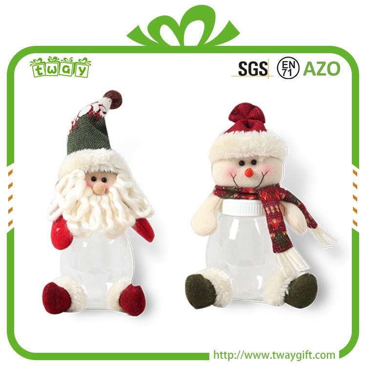 Hot selling 7 Inch santa snowman doll decoration christmas plastic candy jars