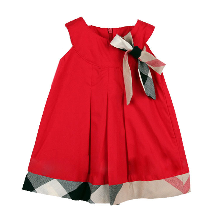 2016 Hot plaid baby dress sleeveless baby girl dress bow baby clothing 100% cotton casual girls clothes infant dresses vestidos