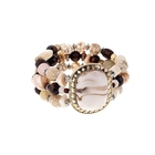 fashion boho bracelet natural stone marble resin wood religious vintage wholesale stretch beaded bracelet