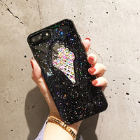 New Arrival Korean Style Cute Icecream Bling Bling Glitter TPU Cell Phone Case For iphone X 8 8plus 7 7plus 6 6plus