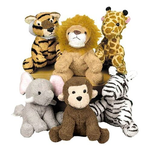 Lovely Assorted plush and stuffed jungle animal toy set