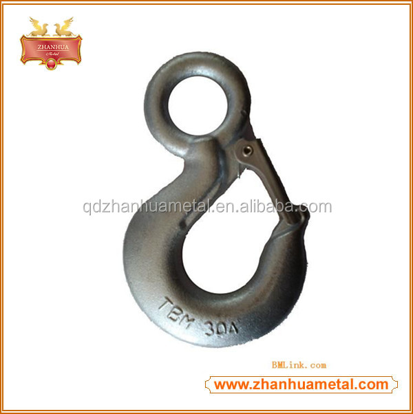 China Supplier Forged Carton Steel Lifting Eye Hook With Latch Safety Hook